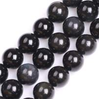 GEM-Inside Natural 16mm Black Obsidian Gemstone Loose Beads Round Energy Power Beads for Jewelry Making 15""
