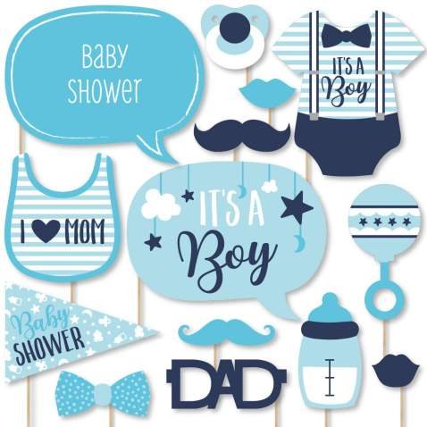 Big Dot of Happiness It's a Boy - Blue Baby Shower Photo Booth Props Kit - 20 Count