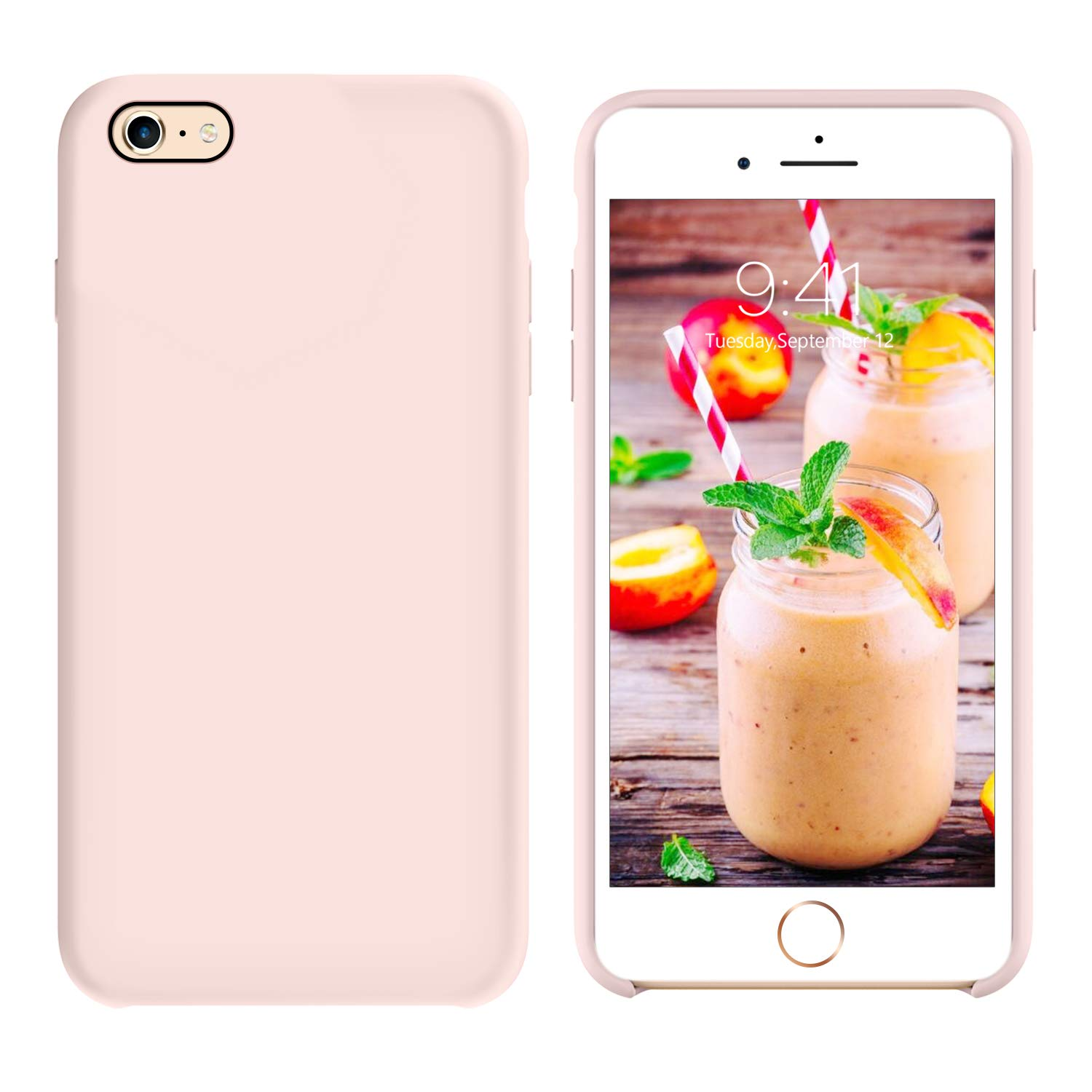 GUAGUA iPhone 6S Case iPhone 6 Case Liquid Silicone Gel Rubber Cover with Soft Microfiber Cloth Lining Cushion Slim Fit Lightweight Shockproof Protective Durable Phone Case for iPhone 6S/iPhone 6 Pink