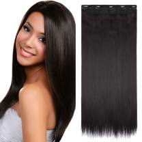 S-noilite One Piece Clip in Hair Extensions Straight Long Thick Natural with 5 Clips Replaceable Hairpiece for Women Add Hair Length and Thickness - 26 inch Jet Black