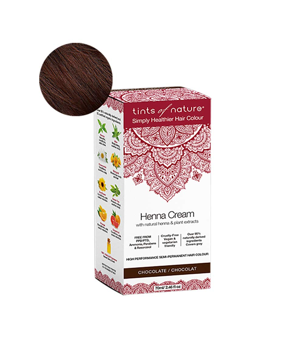 Tints of Nature Henna Cream Chocolate   Semi Permanent Hair Dye Kit   Rich Chocolate Brown Hair Colour   Made From Natural Henna & Plant Extracts   Vegan Friendly   70ml / 2.46 fl oz