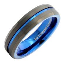 MJ Metals Jewelry Custom Engraved Tungsten Carbide Wedding Band 6mm Black Blue Stripe Ring