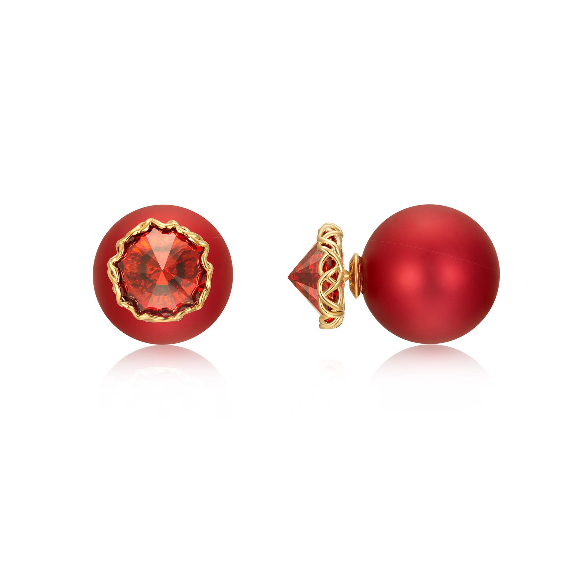 Red Ball Earrings Cubic Zirconia Rhinestones Crystal Snowflake Ball Silver Gold Plated Valentine's Day Special Gifts Red Stud Earrings for Women Girls Jewelry