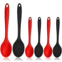 6 Pieces Silicone Mixing Spoons Set Nonstick Kitchen Cooking Spoons Silicone Serving Stirring Spoon for Kitchen Cooking Baking Utensils, Large and Small (Red, Black)