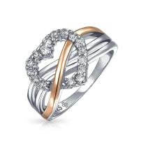 Two Tone Statement Cubic Zirconia Crossover Promise Heart CZ Infinity Ring For Women Rose Gold Plate 925 Sterling Silver
