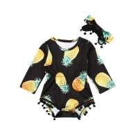 Infant Baby Girls Floral Pompom Tassels Romper Bodysuit Jumpsuit Outfit with Headband Summer Clothes (Pineapple-Black, 12-18 Months)