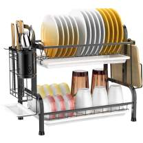 Dish Drying Rack, Veckle 2 Tier Dish Rack 304 Stainless Steel Utensil Holder Cutting Board Holder Dish Drainer with Removable Drain Board for Kitchen Countertop, Black