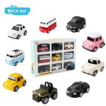 HANMUN Pull Back Car Toy Set 9 Pcs Assorted Mini Die cast Vehicle City Car Playset for 3,4,5,6 Year Toddlers Kids Boys …