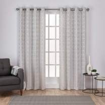 Exclusive Home Curtains Cressy Geometric Textured Linen Jacquard Window Curtain Panel Pair with Grommet Top, 54x84, Dove Grey, 2 Piece