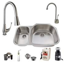 "Westbrass U3148B71-07 All-in-One Undermount Stainless Steel 30/70 Double Bowl Kitchen Sink Set (Includes: Faucet, Badger 5 and Hot Water Dispenser) 31.5"" Stainless Steel"