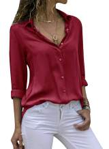 Yidarton Women's Long Sleeve V Neck Chiffon Blouses Tops Button Down Business Shirts