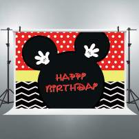 Riyidecor Cartoon Mouse Happy Birthday Backdrop Polka Dots Red Black Stripe Princess Kids Photography Background 8x6 Feet Decor Celebration Party Photo Shoot Backdrop Vinyl Cloth