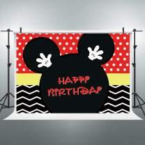 Riyidecor Cartoon Mouse Happy Birthday Backdrop Polka Dots Red Black Stripe Princess Kids Photography Background 5x3 Feet Decor Celebration Party Photo Shoot Backdrop Vinyl Cloth