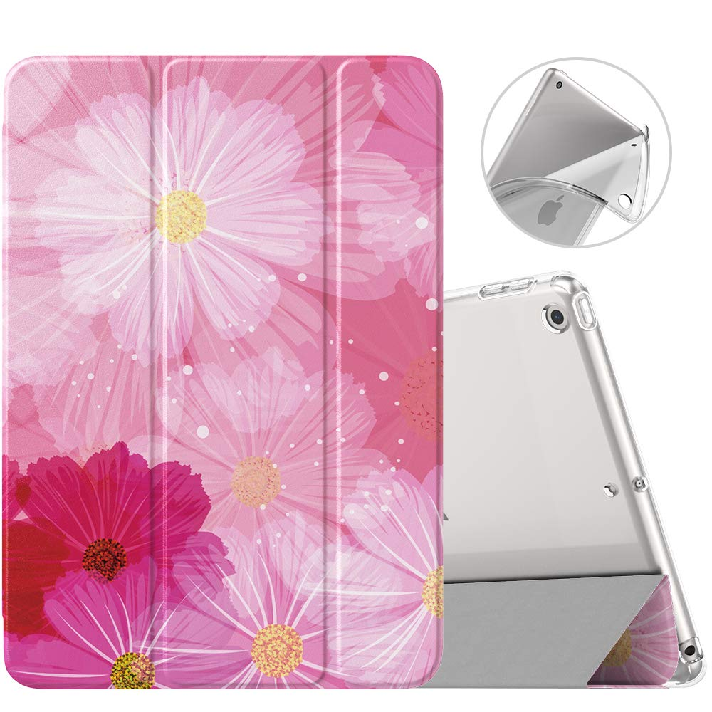 MoKo Case Fit New iPad 10.2 2019 (10.2 inch) - iPad 7th Generation 2019 Case with Stand, Soft TPU Translucent Frosted Back Cover Slim Smart Shell, Auto Wake/Sleep - Coreopsis