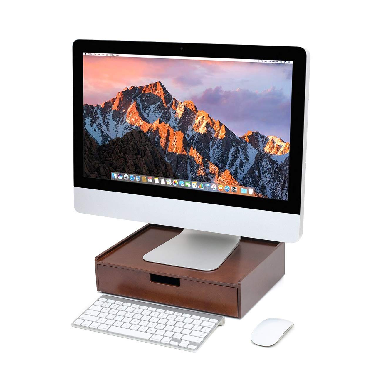 Wood Drawer Large, Monitor Stand & Stackable Storage Solution for Office Products pens, Pencils, Scissors, notepads, Business Cards and More