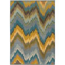 "Oriental Weavers 8020G Kaleidoscope Area Rug, 9' 9"" x 12' 2"", Yellow/Blue"