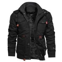 Susclude Men's Jacket Casual Cotton Winter Military Jacket Men Outerwear Fleece Hooded Coat with Multi Pockets