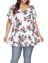 Allegrace Women's Plus Size Floral Printing Short Ruffle Sleeve Top Casual T Shirts