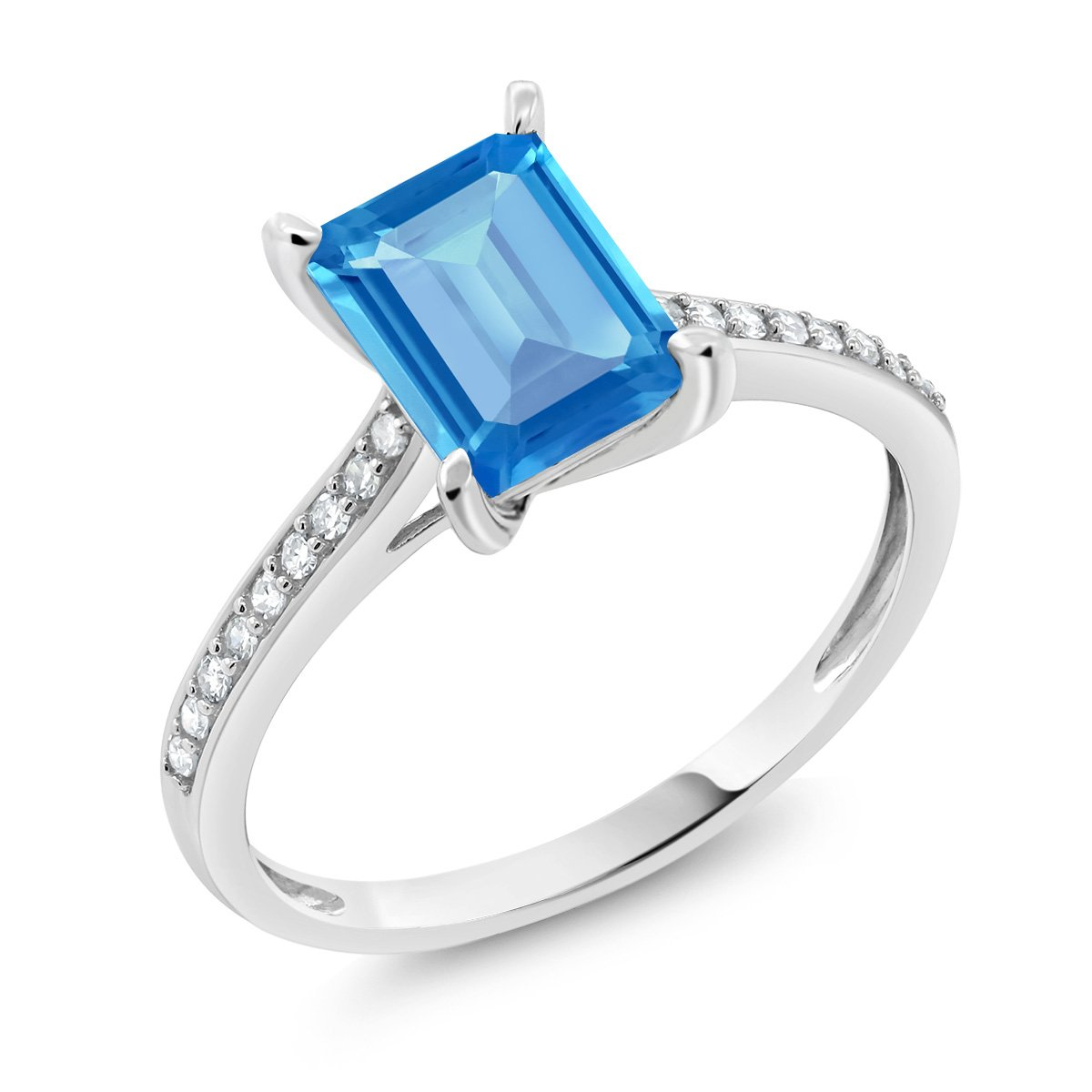 Gem Stone King 10K White Gold Swiss Blue Topaz and Diamond Women's Engagement Ring 2.03 Ct Emerald Cut (Available 5,6,7,8,9)