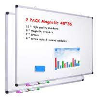 """48"""" x 36"""" Dry Erase Board, Ohuhu 2 Pack Magnetic Large Whiteboard/White Board with 12 Color Dry Erase Markers, 8 x Magnetic Stickers, 2 x Eraser, 8 x Screw Nuts & Sleeve Anchors, Aluminum Frame Silver"""