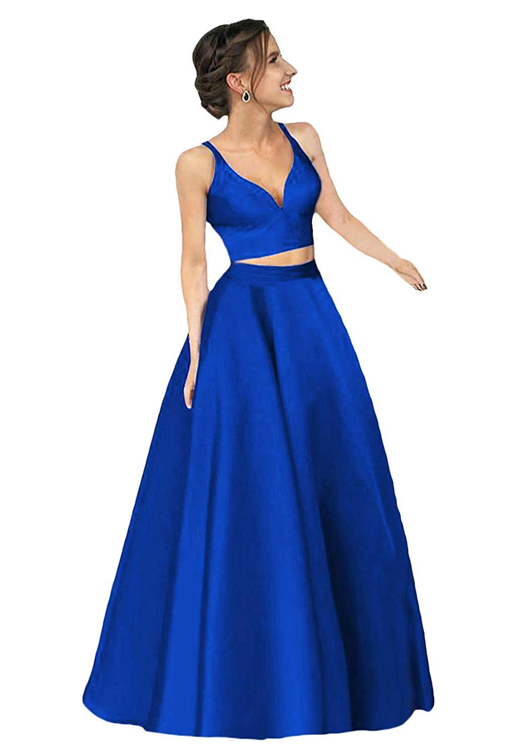 HONGFUYU V Neck Two Piece Long Satin Formal Prom Dresses with Invisible Pockets Graduate Party Dresses