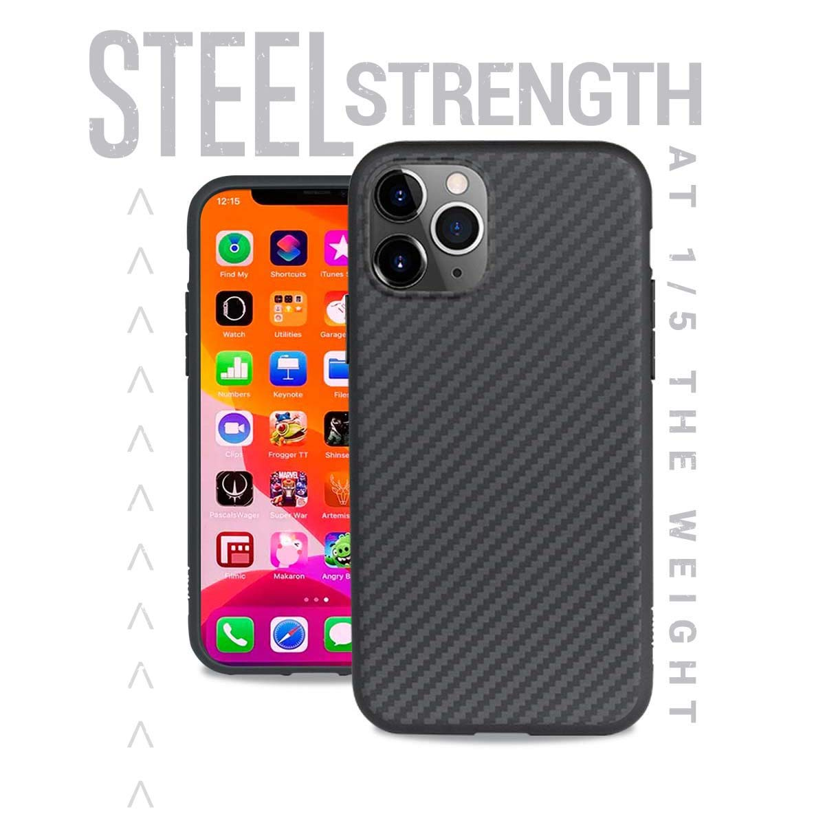 Evutec Case Compatible with iPhone 11 Pro Karbon Unique Hard Smooth Heavy-Duty Phone Case Cover Real Aramid Fiber Strong Protective Slim 1.6mm Durable (Black)-AFIX+ Free Vent Mount
