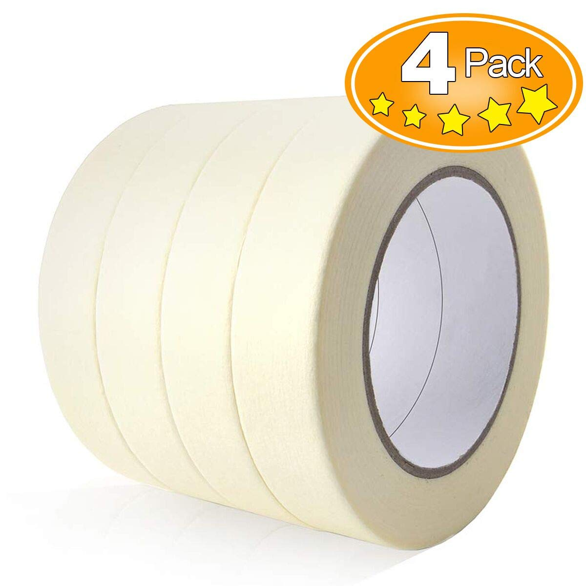 General Purpose Masking Tape, 0.94 inch x 60 Yards Painter's Tape, Great for Painting, Home, Office, School Stationery, Arts, Crafts, 4 Rolls by TIANBO FIRST