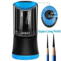 AFMAT Artist Pencil Sharpener, Charcoal Pencil Sharpener, Electric Art Pencil Sharpener, Long Point Sharpener for 6-9.6mm Large Pencils, Rechargeable Pencil Sharpeners for Art Pencils-Blue