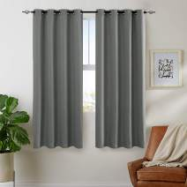 jinchan Room Darkening Curtains for Bedroom Curtains for Living Room Linen Look Textured Thermal Insulated Window Treatment Set (Single Panel, 45 Inch, Grey)