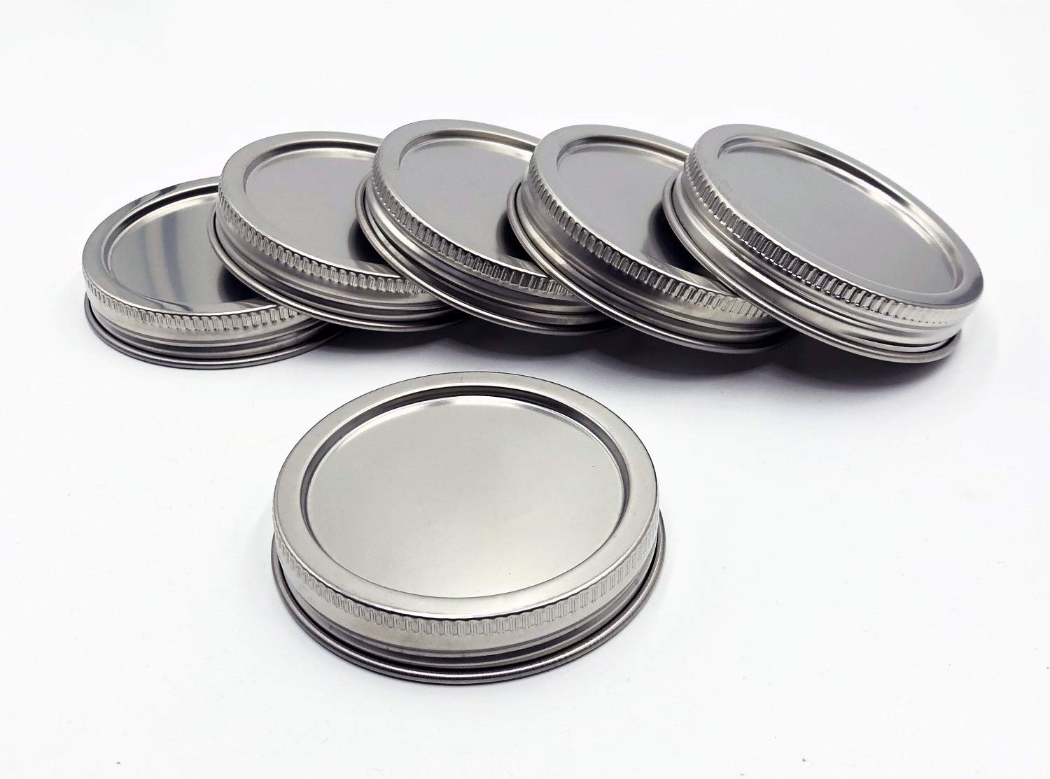 THINKCHANCES Food Grade BPA Free Rust Resistant Heavy Duty Stainless Steel Transformer Ball Mason Jar Lids Canning Caps with Leak Proof Airtight Silicone Seal (Wide Mouth, 6 Pack)