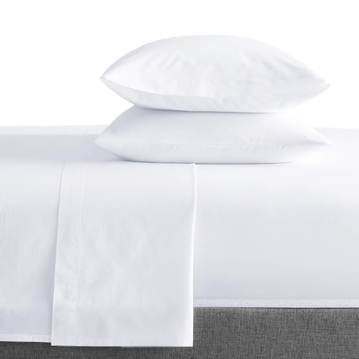 Bokser Home 500 Thread Count 100% Long Staple Cotton Sateen Bed Sheets   Size: Full - White   Luxurious, Ultra Soft, and Smooth 4 Piece Set   Extra Deep Pockets to Fit Any Mattress