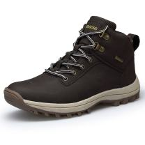 TSIODFO Men's Boots Winter Waterproof Leather Outdoor Hiking Shoes Black Brown