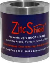 """ZincShield Pure Zinc Strip to Avoid Ugly Roof Stains from Moss, Algae, Fungus, and Mildew, 50 Foot Roll - Includes Bag of Nails - Made in The USA (3.5"""")"""