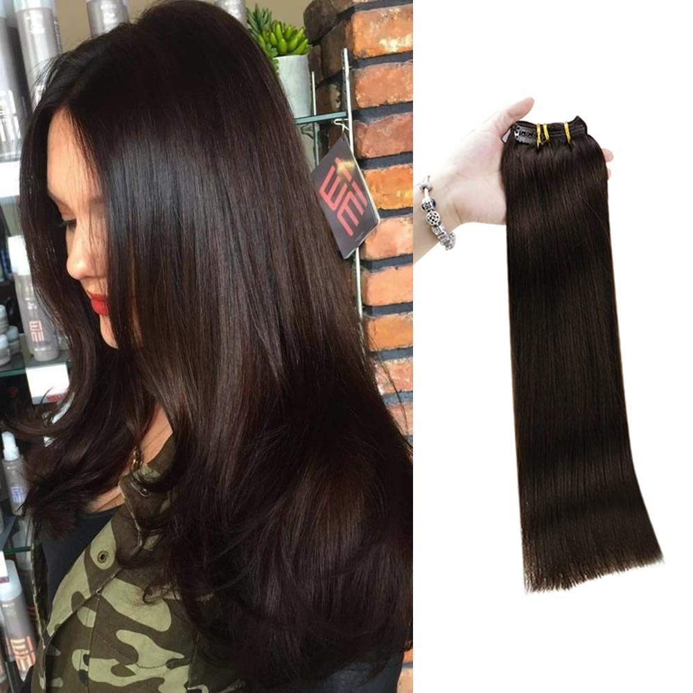 Full Shine Clip in Hair Extensions Natural Hair 80 Gram Real Human Hair Clip In Extensions Full Head 10 Inch 7 Pieces Color 2 Darkest Brown Thick Hair For Women