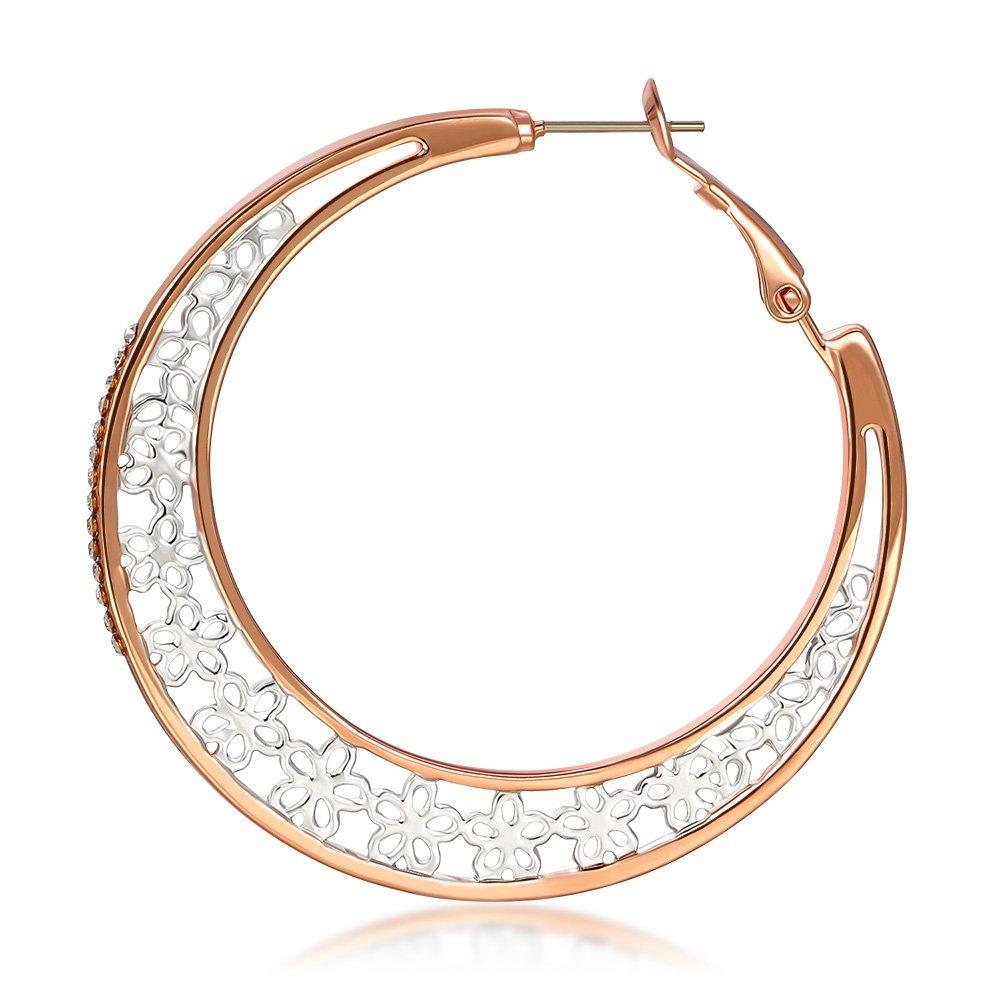 Kemstone Rose Gold Filigree Flower Hoop Earrings Boho Jewelry for Women