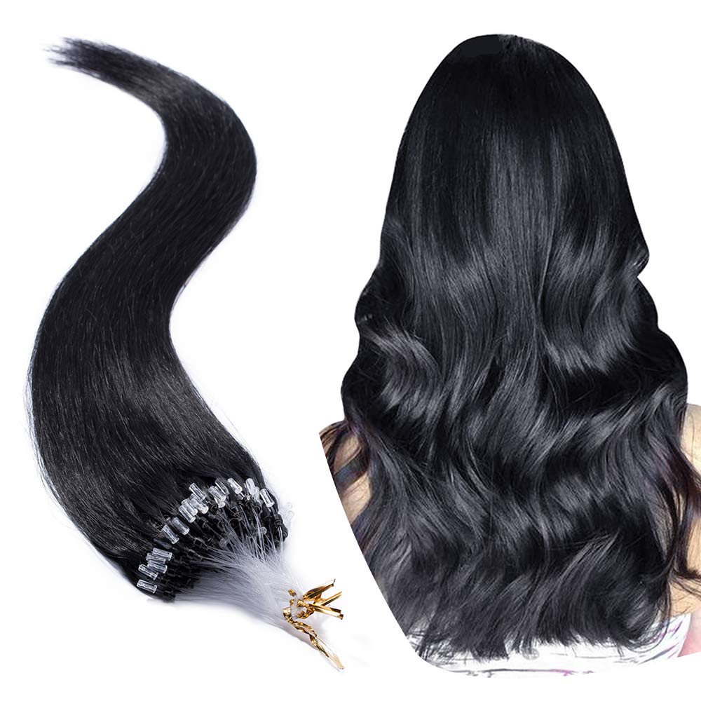 Micro Link Human Hair Extensions Micro Ring Loop Remy Hair Piece Beads Cold Fusion Stick Tipped Hair Fish Line Natural Straight Real Hair Extension For Women 18 inch 50g 100 Strands #01 Dark Black