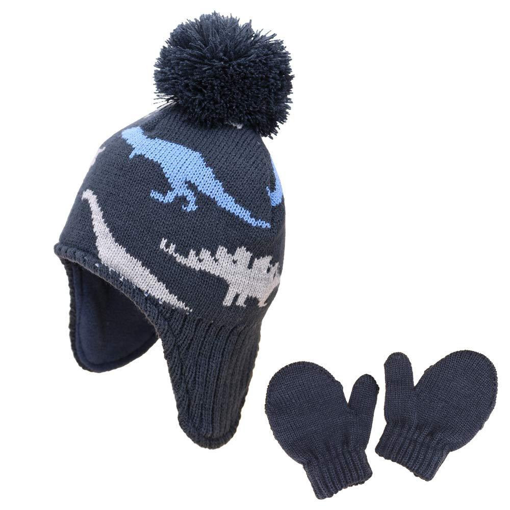 Baby Toddler Kids Winter Hats and Gloves Set Knit Earflap Beanie Warm Fleece Cap for Boy Girl