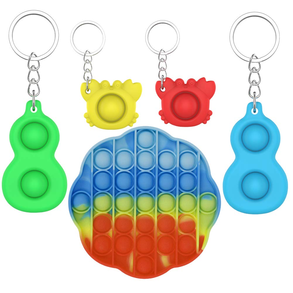 VOOA 5 Pack Sensory Toys Set,Fidget Toys Pack,Push Popping Bubble Fidget Toy,Fidget Simple Dimple Toy,Stress Relief Hand Toy,Silicone Stress Reliever Toy Anxiety Relief Toy for Children Adults