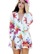CHARLES RICHARDS Women Floral Print Deep V-Neck Romper Playsuit Jumpsuit