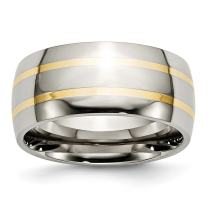 ICE CARATS Titanium 14k Yellow Inlay 10mm Wedding Ring Band Precious Metal Fine Mothers Day Jewelry for Women Gifts for Her
