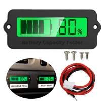 Icstation Voltage Capacity Tester Moudle 12V-48V Lithium-ion Lead-acid Battery Status Indicator LCD Digital Power Monitor for Balance Car Vehicle Skateboard (Green Backlight)