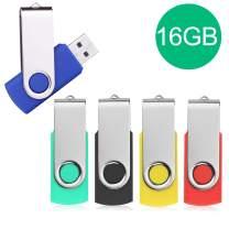 JUYUKEJI USB Stick, 5 X 16GB Pen Thumb Flash Drives Jump Drive Memory External Storage Stick with Keychain Design & Led Indicator (5 Mixed Color)