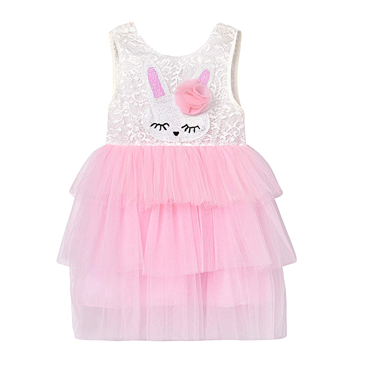 Easter Outfit for Toddler Baby Girl Backless Bunny Lace Dress Cute Princess Ruffle Dress Summer Clothes