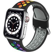 Muranne Sport Bands Compatible with Apple Watch 44mm 42mm iWatch SE & Series 6 & Series 5 4 3 2 1 for Women Men, Black/Rainbow, S/M