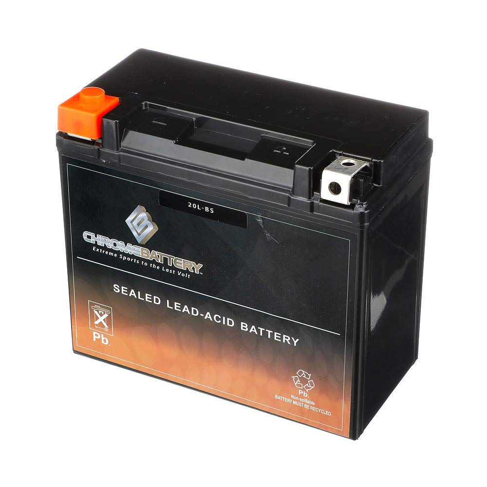 Chrome Battery YTX20L-BS Battery- Rechargeable, AGM, High Performance Power Sports, Factory Sealed