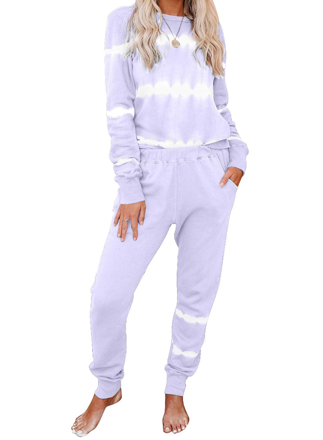 Dearlovers Womens Casual Two Piece Outfit Long Sleeve Tie Dye Print Shirt with Pants Lounge Sleepwear