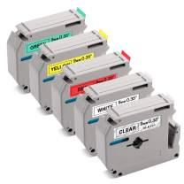 Label KINGDOM Compatible Label Tape Replacement for M Tape MK221 MK121 MK421 MK621 MK721, 9mm 3/8 Inch Tape, Compatible with Brother P-Touch Label Maker PT-M95 PT-90 PT-70BM PT-65 PT-85, 5-Pack