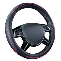 CAR PASS Colour Piping Leather Universal Fit Steering Wheel Cover,Perfectly fit for Suvs,Vans,Trucks,Sedans,Cars (Black and Pink)