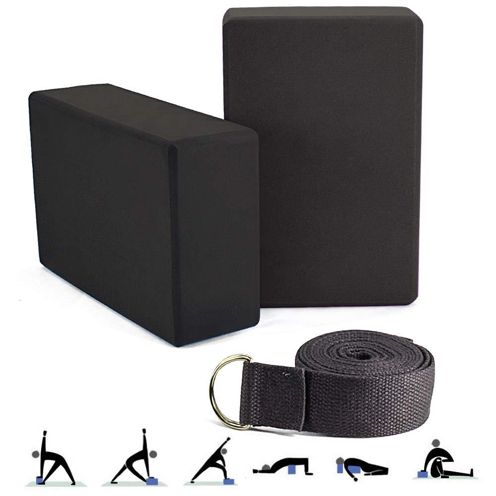 YnGia Yoga Blocks Foam Bricks and Strap Set 2 Packs Eco Friendly Non Toxic for Women Men Beginners High Density EVA Foam Blocks Support and Deepen Poses Improve Strength Balance Firm Lightweight