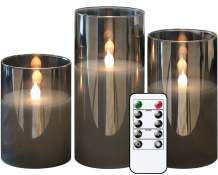 GenSwin Gray Glass Battery Operated Flameless Led Candles with 10-Key Remote and Timer, Real Wax Candles Warm White Flickering Light for Home Decoration(Set of 3)